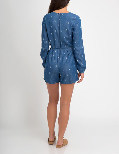 LIGHTWEIGHT DENIM LONG SLEEVE ROMPER