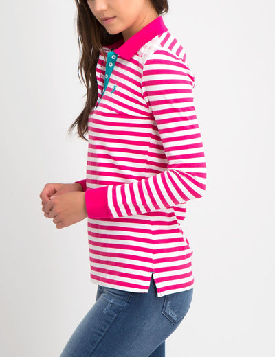 LACE TRIM STRIPE LONG SLEEVE POLO SHIRT
