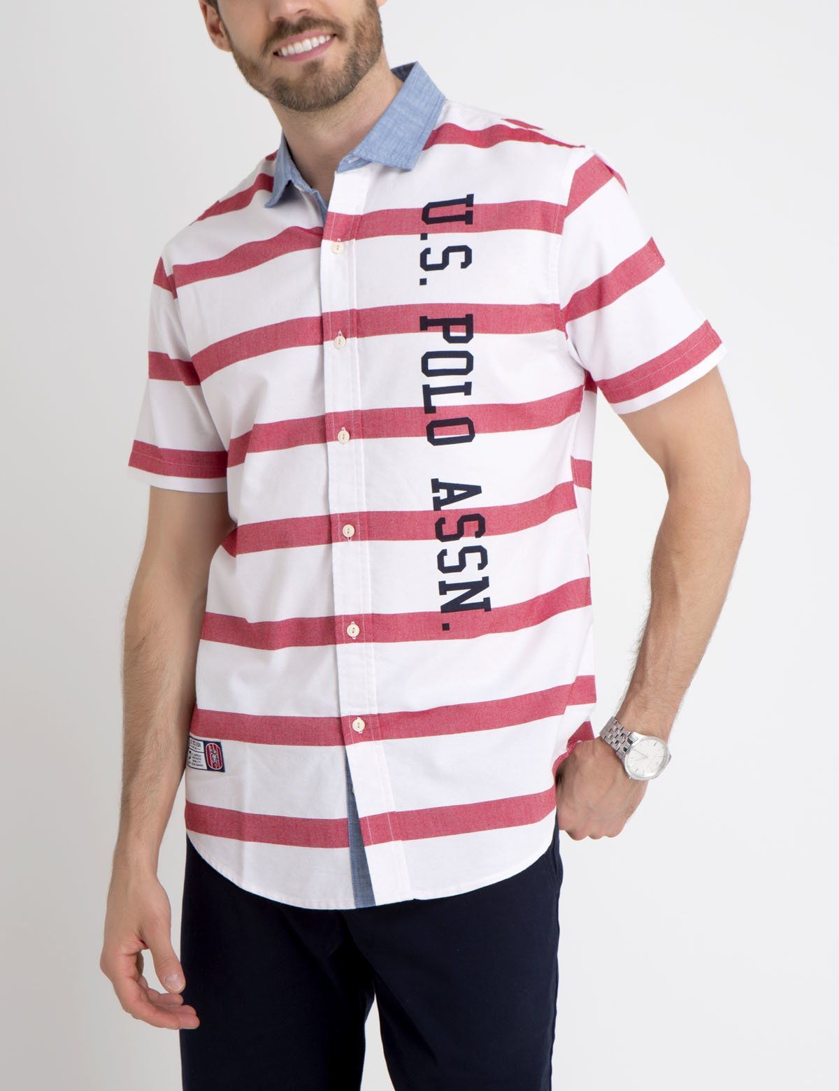 STRIPED OXFORD SHIRT WITH CONTRAST COLLAR