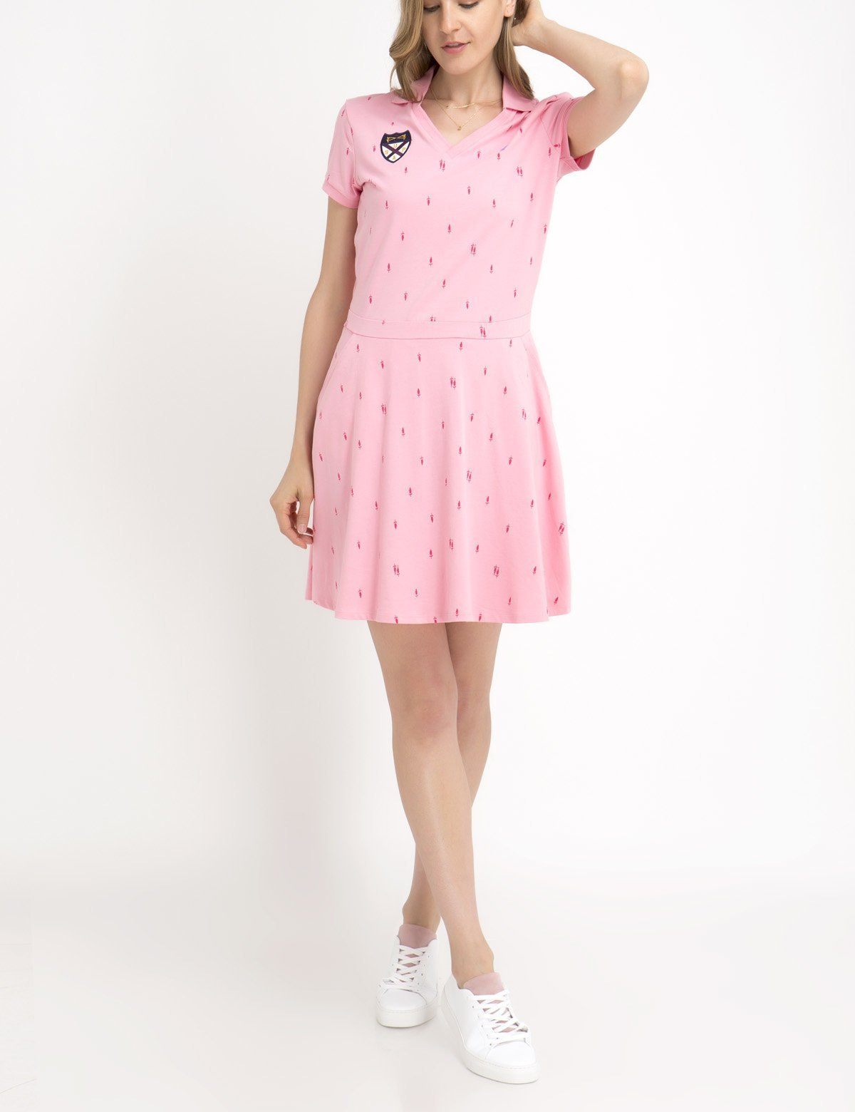 PRINTED V-NECK POCKET DRESS - U.S. Polo Assn.