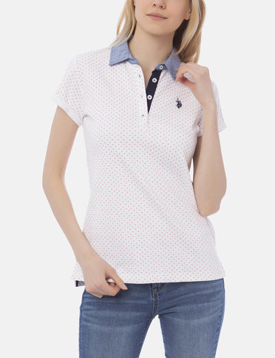 PREMIUM DOT PRINTED CHAMBRAY COLLAR POLO SHIRT - U.S. Polo Assn.