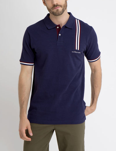 POLO SHIRT WITH VERTICAL STRIPE DETAIL