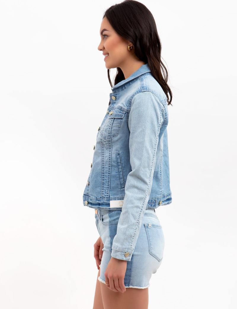 STRIPED SLEEVE DENIM JACKET
