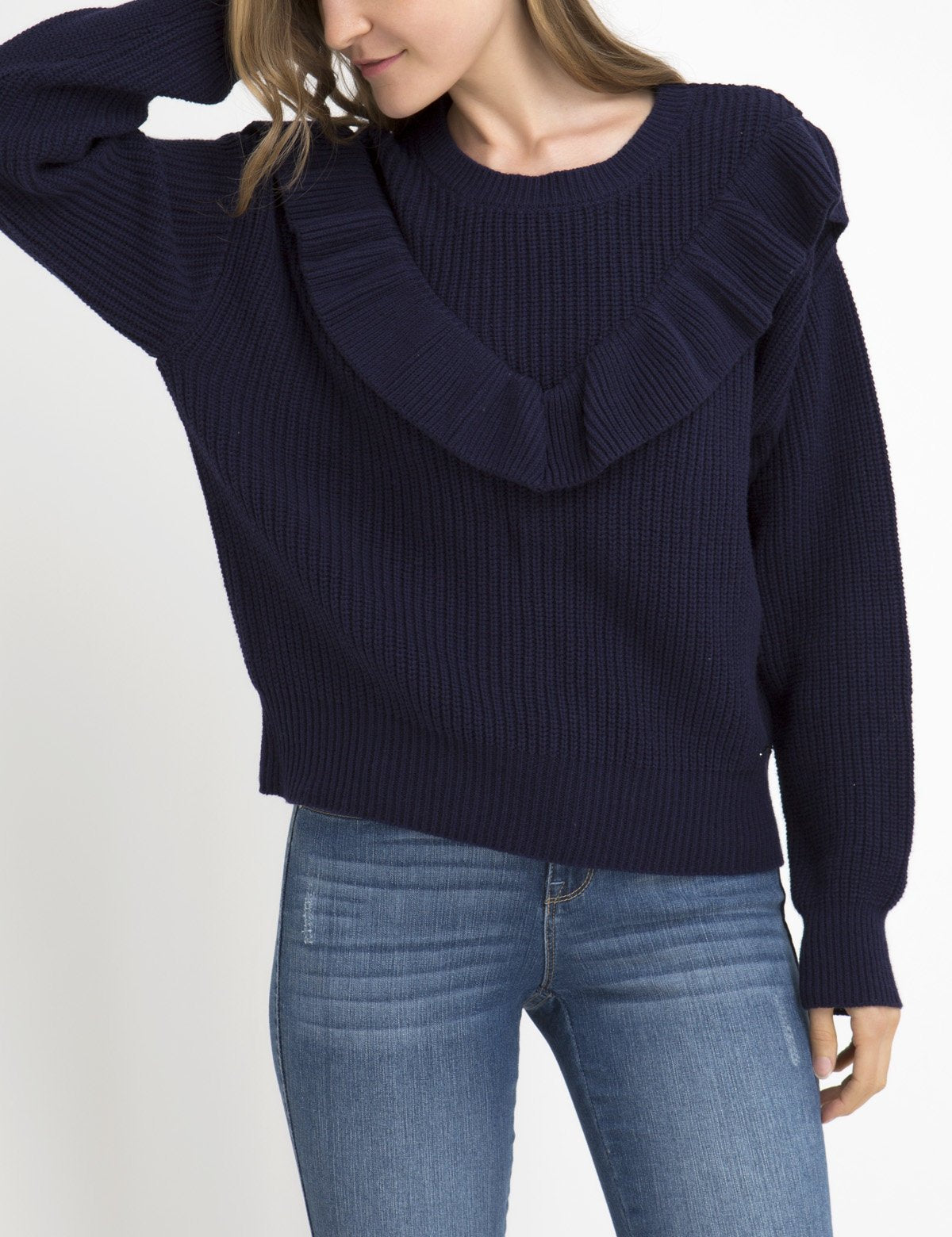 RUFFLE V-NECK SWEATER - U.S. Polo Assn.