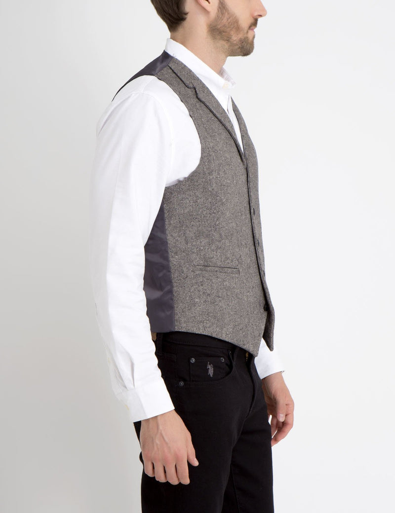 GREY WOOL SUIT VEST