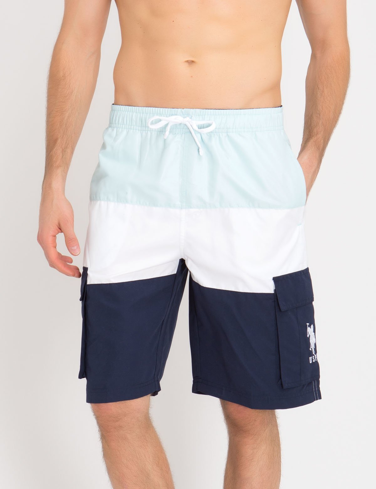 TRI-COLORBLOCK CARGO SWIM TRUNKS