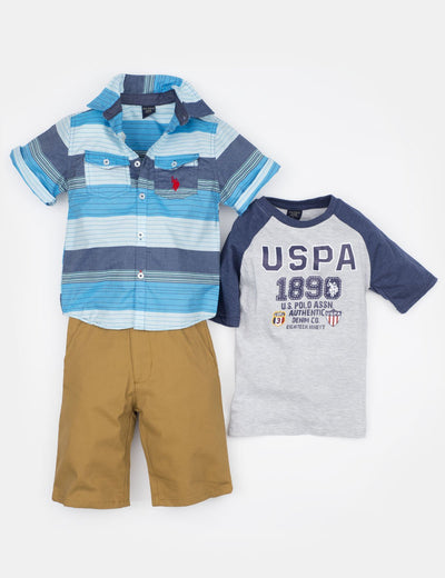 Boys 3 Piece Set - Woven Shirt, Tee & Shorts - U.S. Polo Assn.