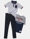 BOYS 3 PIECE POLO SHIRT, TEE & DENIM PANT SET