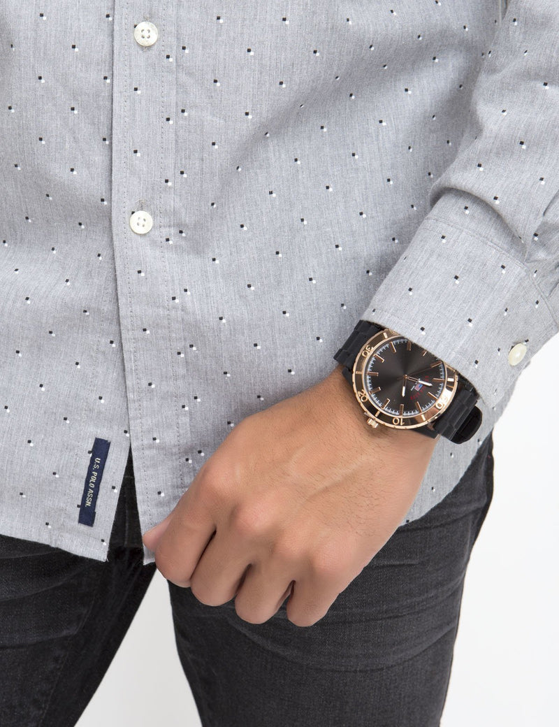 CLASSIC FIT HEATHER DOT SHIRT IN POPLIN