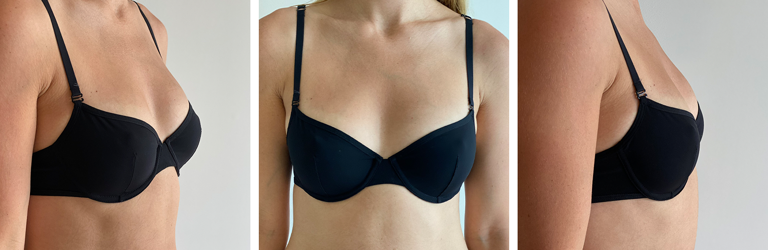 Classic Demi Bra: 3/4, Front, and Side