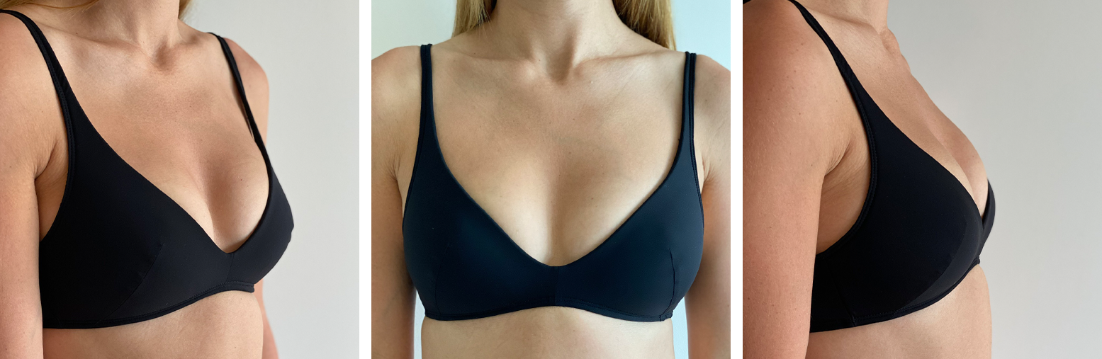 Molded Plunge Soft Bra: 3/4, Front, and Side