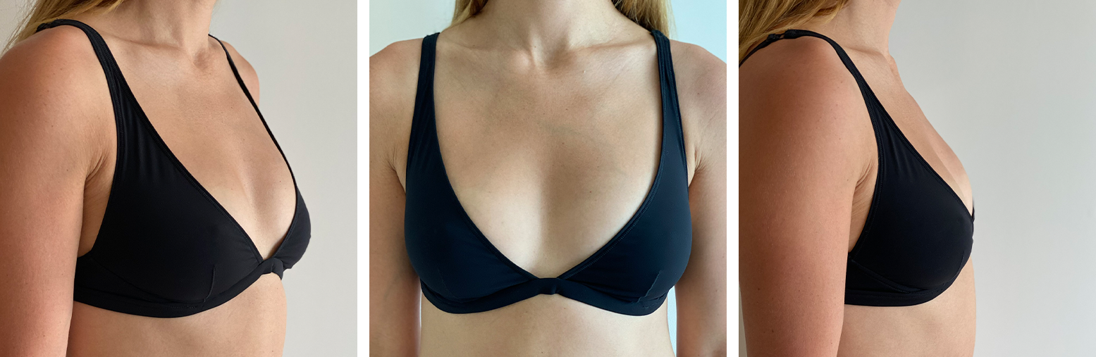 Triangle Underwire Bra - 3/4, Front, and Side
