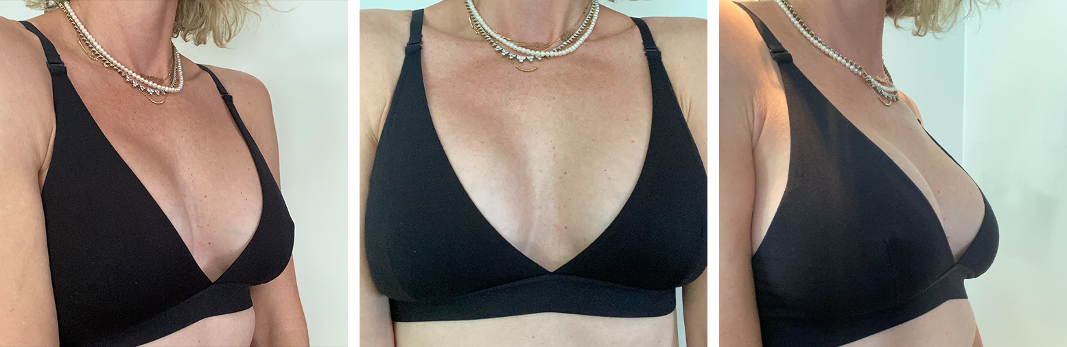 Triangle Pullover Bra - 3/4, Front, and Side