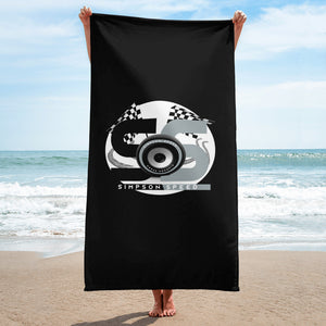 Black Towel with black and silver logo