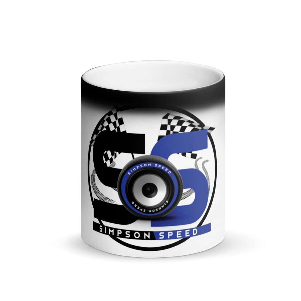 Matte Black Magic Mug Blue Logo