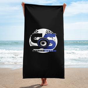 Black Towel with blue and gray logo