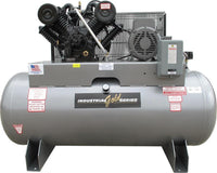Industrial Gold - 10hp Reciprocating Air Compressor, 120 Gallon Horizontal Air Receiver, 34.5 CFM @ 175 PSI, 6 Year Warranty Available