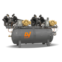 DV Systems VAT-5583 - Duplex  10hp Heavy Duty Industrial Reciprocating Air Compressor, 240 Gallon Horizontal Air Receiver, 36.8 x 2 SCFM @ 150 PSI, 7 Year Limited Warranty