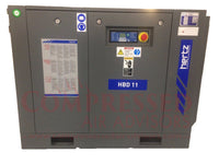 Hertz Kompressoren HBD 11 - 15hp Belt Driven Rotary Screw Air Compressor, Base Mount 63 CFM @ 125 PSI, 10 Year Warranty Available