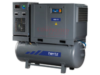 Hertz Kompressoren HBD 15 TMD - 20hp Belt Driven Rotary Screw Air Compressor, 120 Gallon Air Receiver, Refrigerated Air Dryer, 75 CFM @ 125 PSI, 10 Year Warranty Available