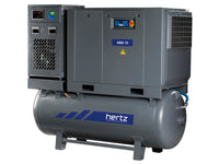 Hertz Kompressoren HBD11 TMD - 15hp Belt Driven Rotary Screw Air Compressor, 120 Gallon Air Receiver, Refrigerated Air Dryer, 63 CFM @ 125 PSI, 10 Year Warranty Available