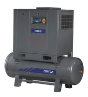 Hertz Kompressoren HBD 5  TM - 7.5hp Belt Driven Rotary Screw Air Compressor, 120 Gallon Air Receiver, 28 CFM @ 125 PSI, 10 Year Warranty Available