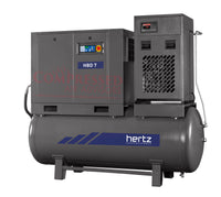 Hertz Kompressoren HBD 7 - 10hp Belt Driven Rotary Screw Air Compressor, 120 Gallon Air Receiver, Refrigerated Air Dryer,  40 CFM @ 125 PSI, 10 Year Warranty Available