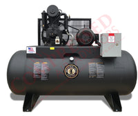 Industrial Gold - 5hp Reciprocating Air Compressor, 80 Gallon Horizontal Air Receiver, 17.5 CFM @ 175 PSI, 6 Year Warranty Available