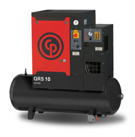 Chicago Pneumatic QRS 10D 150 HP TM, 10hp Rotary Screw Air Compressor, Air Dryer, 132 Gal Tank Mounted, 35.2 ACFM @ 150 PSI, 208-230/460V/3Ph