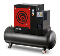 Chicago Pneumatic QRS 15D 150 HP TM, 15hp Rotary Screw Air Compressor, Refrigerated Air Dryer, 132 Gallon Tank Mounted, 51.0 ACFM @ 150 PSI,  Tri-Voltage 208-230/460V/3Ph