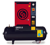 Chicago Pneumatic QRS 5.0 HP TM, hp Rotary Screw Air Compressor, 60 Gallon Tank Mounted, 16.6 ACFM @ 150 PSI, Tri-Voltage 208-230V/460V/3Ph