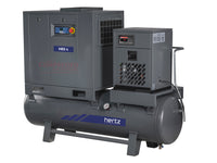 Hertz Kompressoren HBD 5 TMD - 7.5hp Belt Driven Rotary Screw Air Compressor, 120 Gallon Air Receiver, Refrigerated Air Dryer, 28 CFM @ 125 PSI, 10 Year Warranty Available