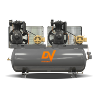 DV Systems TAP-5562 - Duplex  5hp Heavy Duty Industrial Reciprocating Air Compressor, 120 Gallon Horizontal Air Receiver, 19.8 x 2 SCFM @ 150 PSI, 7 Year Limited Warranty