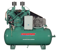 Champion Advantage HR25-12 - 25hp Reciprocating Air Compressor,  R70 Pump, 120 Gallon Horizontal Receiver, Air Cooled Aftercooler, Mounted Control Panel, LOSC, Elec. Tank Drain, Vibration Isolators, 90.7 CFM @ 175 PSI