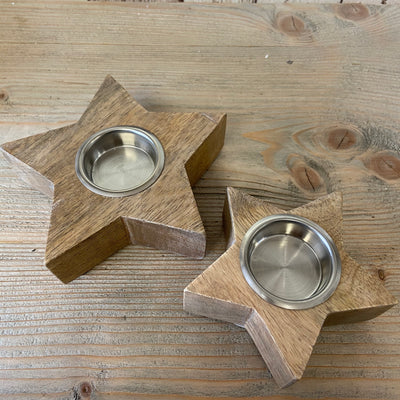 Retreat - Natural Wooden Chunky Star Tealight Candle Holder