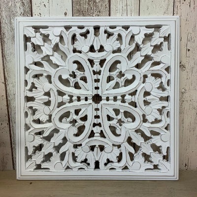 Retreat - White Wooden Carved Square Panel