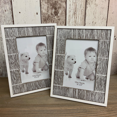 "Whitewashed Wooden Photo Frame - 4""x6"""