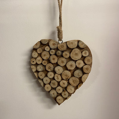 Hanging Wooden Heart With Jute Rope