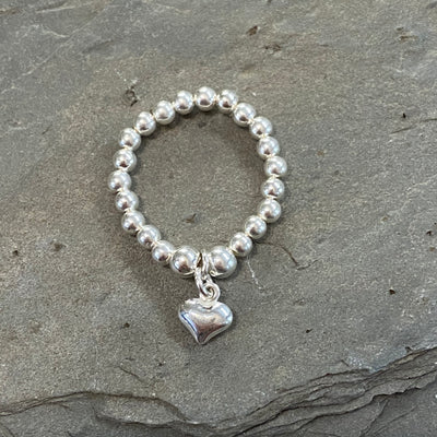 Sterling Silver Bead Ring - Puffed Heart