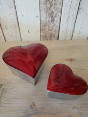 Aluminium Enamelled Heart Box With Lid - Red