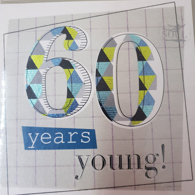 '60 Years Young' Greetings Card