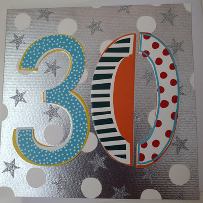'30' 30th Birthday Card