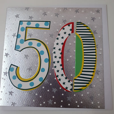 '50' 50th Birthday Card