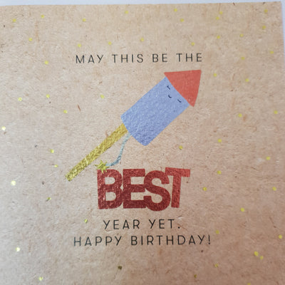 Best Year Yet Firework Birthday Card