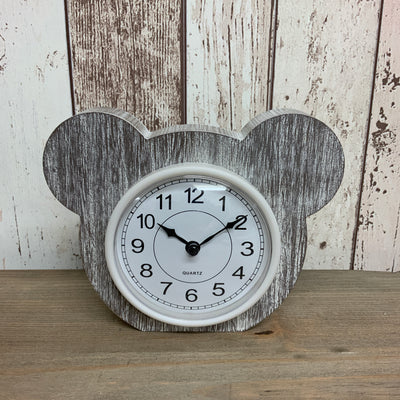 Teddy Bear Whitewashed Wooden Clock