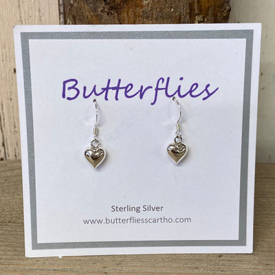 Sterling Silver Small Puffed Heart Drop Earrings