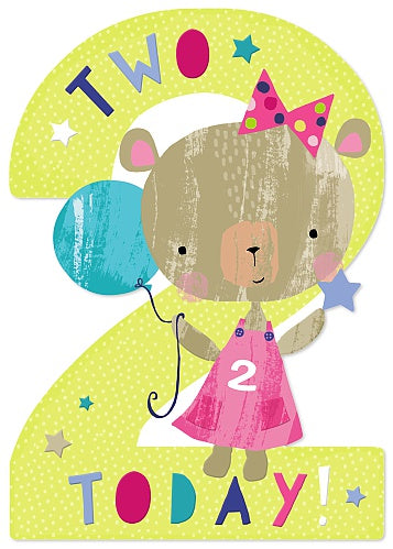 2nd Birthday Girl Teddy Card