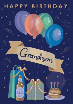 Happy Birthday Grandson Greetings Card