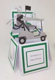 Handcrafted Pop-Up Box Style Golf Card