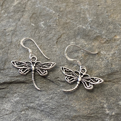 Sterling Silver Dragonfly Drop Earrings